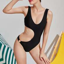 Cut Out Ring Linked One Piece Swimsuit