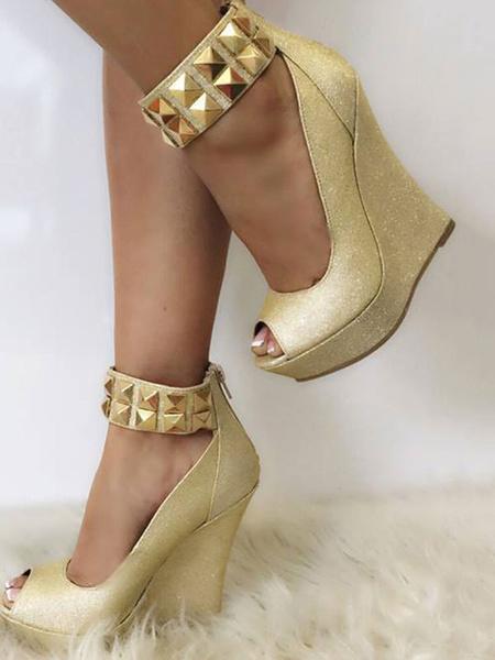 Milanoo Cuñas de moda Detalles de metal Peep Toe Correa de tobillo Zapatos de mujer para fiesta