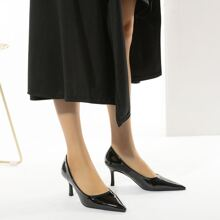 Patent Point Toe Stiletto Heeled Courts