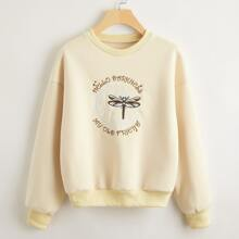 Slogan & Dragonfly Embroidery Pullover