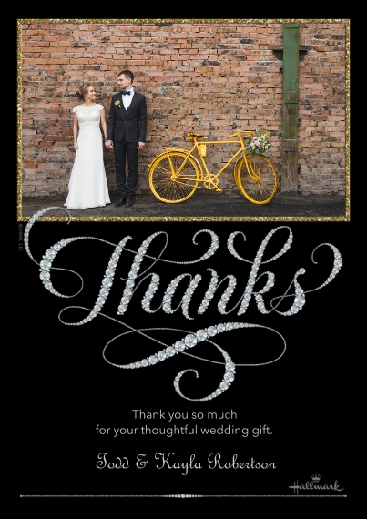 Wedding Thank You 5x7 Cards, Standard Cardstock 85lb, Card & Stationery -Elegant Diamond Thank You