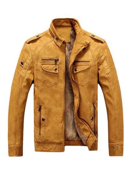 Milanoo Blue Motorcycle Jacket Stand Collar bolsillo cremallera Plush forro manga larga PU Leather Jacket para hombres