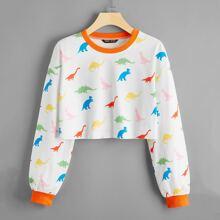 Contrast Trim Allover Dinosaur Crop Pullover