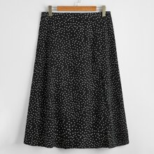 Plus Polka Dot Split Thigh Skirt
