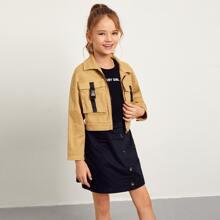 Girls Push Buckle Flap Pocket Front Crop Jacket