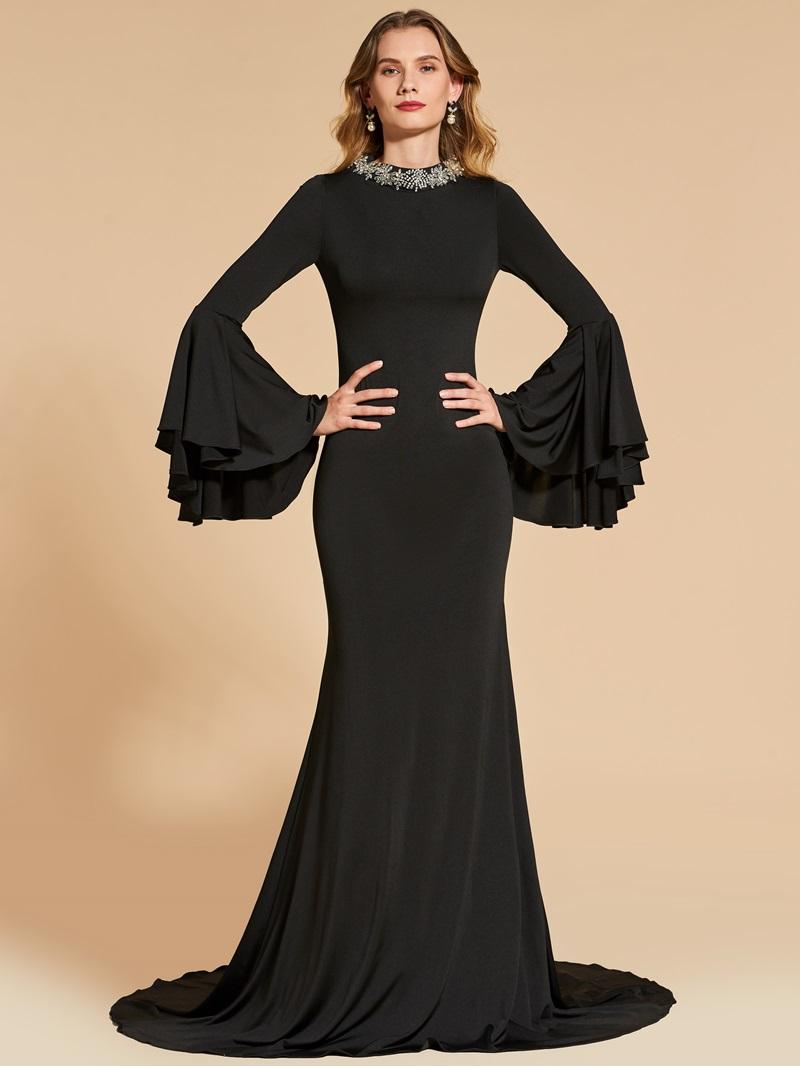 Ericdress Long Sleeve Beaded Scoop Neck Mermaid Evening Dress