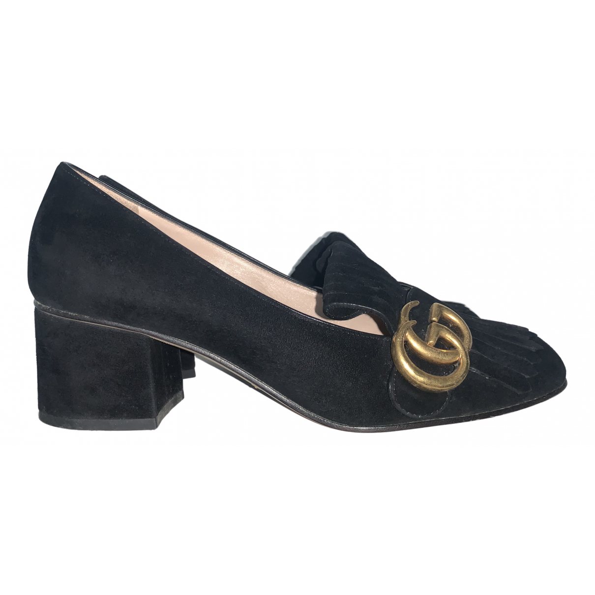 Gucci Marmont Black Suede Flats for Women 37 IT
