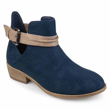 Journee Collection Womens Mavrik Booties Block Heel, 9 Medium, Blue