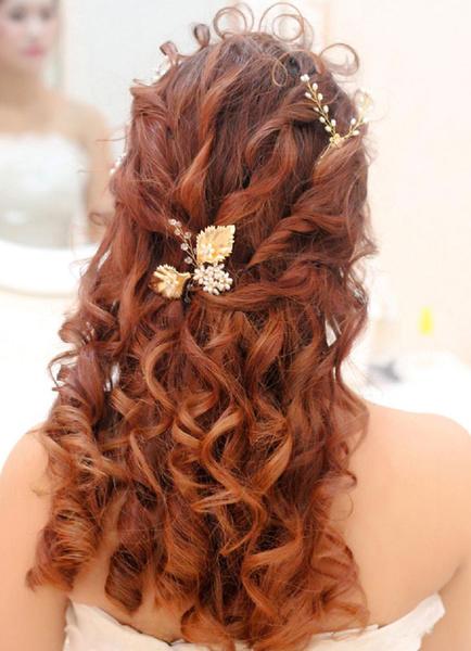 Milanoo Novia de novia tocados perlas oro pelo Pin Tiara (8 Cm X 7 Cm)