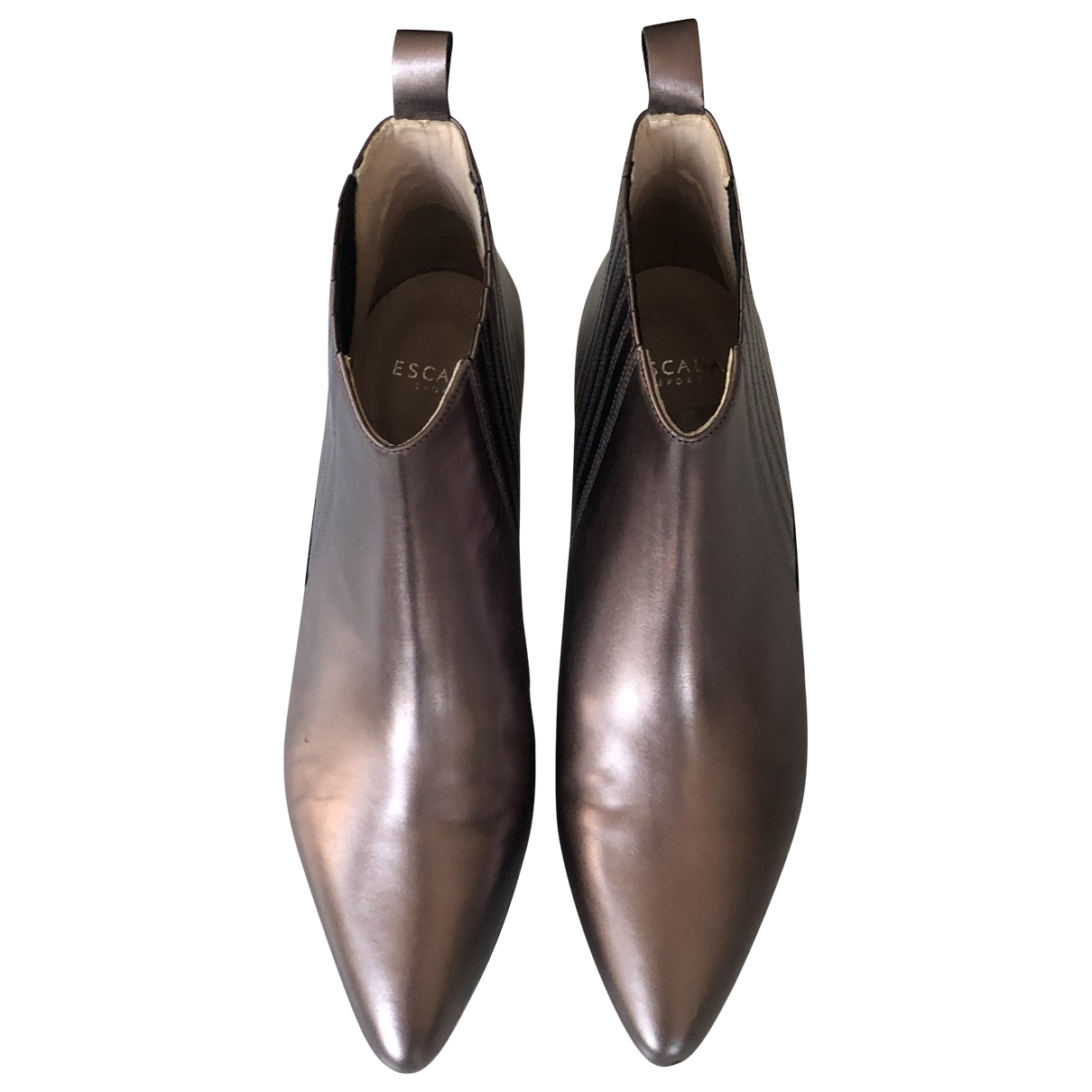 Escada - Bottes   pour femme en cuir - metallise