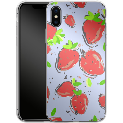 Apple iPhone X Silikon Handyhuelle - Strawberry Crush von Mukta Lata Barua