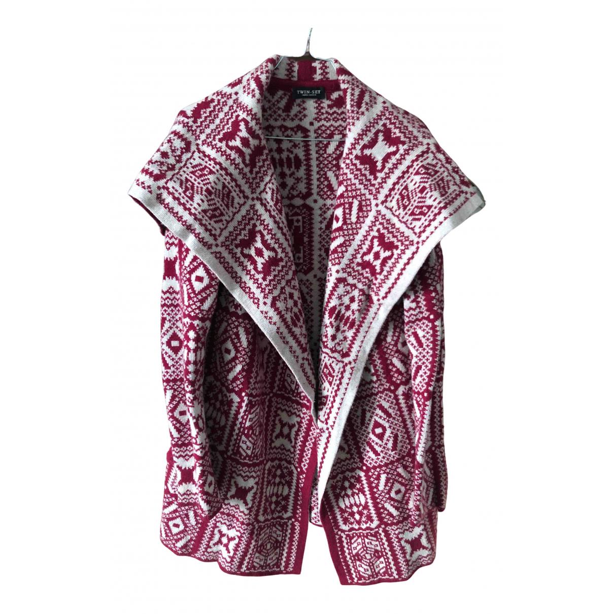 Twin Set - Veste   pour femme en laine - bordeaux