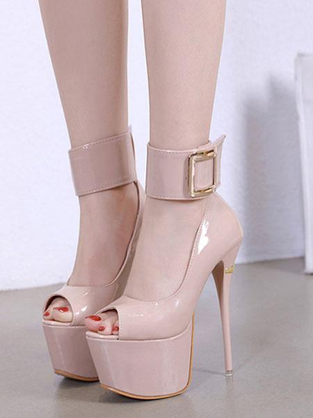 Milanoo Sexy High Heels Nude Platform Peep Toe Buckle Detail Ankle Strap Pumps