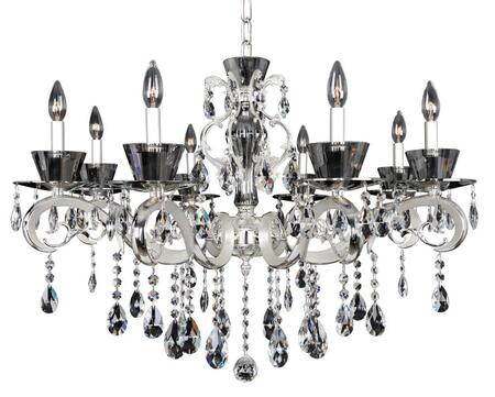 Locatelli 10099-017-FR001 8-Light Chandelier in Two Tone Silver Finish with Firenze Clear