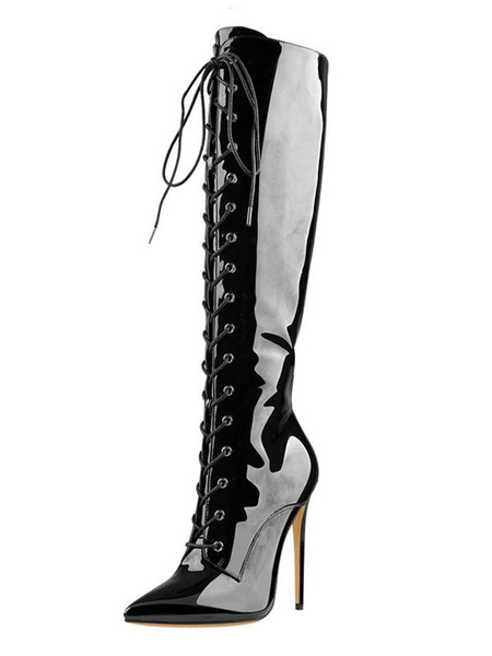 Milanoo Knee High Boots Womens Black Patent PU Lace Up Pointed Toe Stiletto Heel Boots