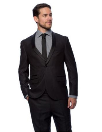 West End Mens Black Young Look Slim Fit Satin Detailed Tuxedo