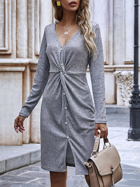 Milanoo Grey Bodycon Dresses Women V Neck Long Sleeves Pleated Slim Fit Dress