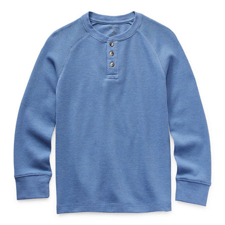 Arizona Little & Big Boys Henley Neck Long Sleeve Thermal Top, X-small (6-7) , Blue