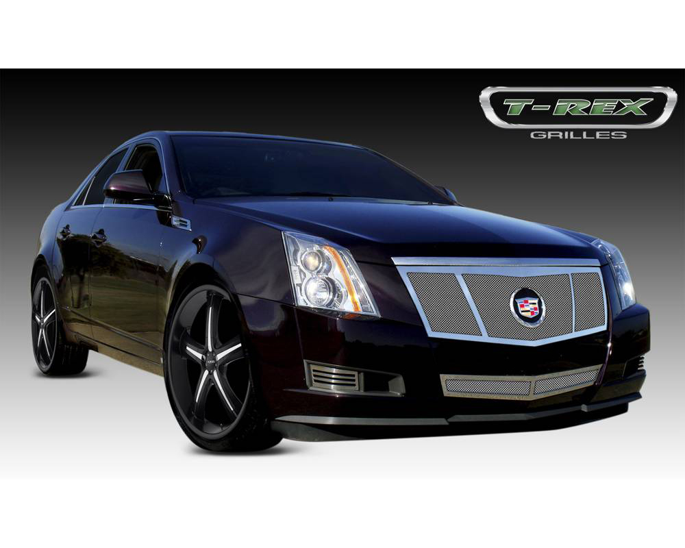 2008-2013 Cadillac Upper Class Grille, Polished, 1 Pc, Replacement, 3 Opening Design with Recessed Logo - PN #54198