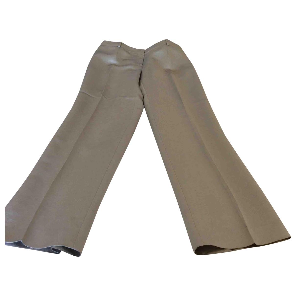 Celine \N Grey Linen Trousers for Women 42 FR