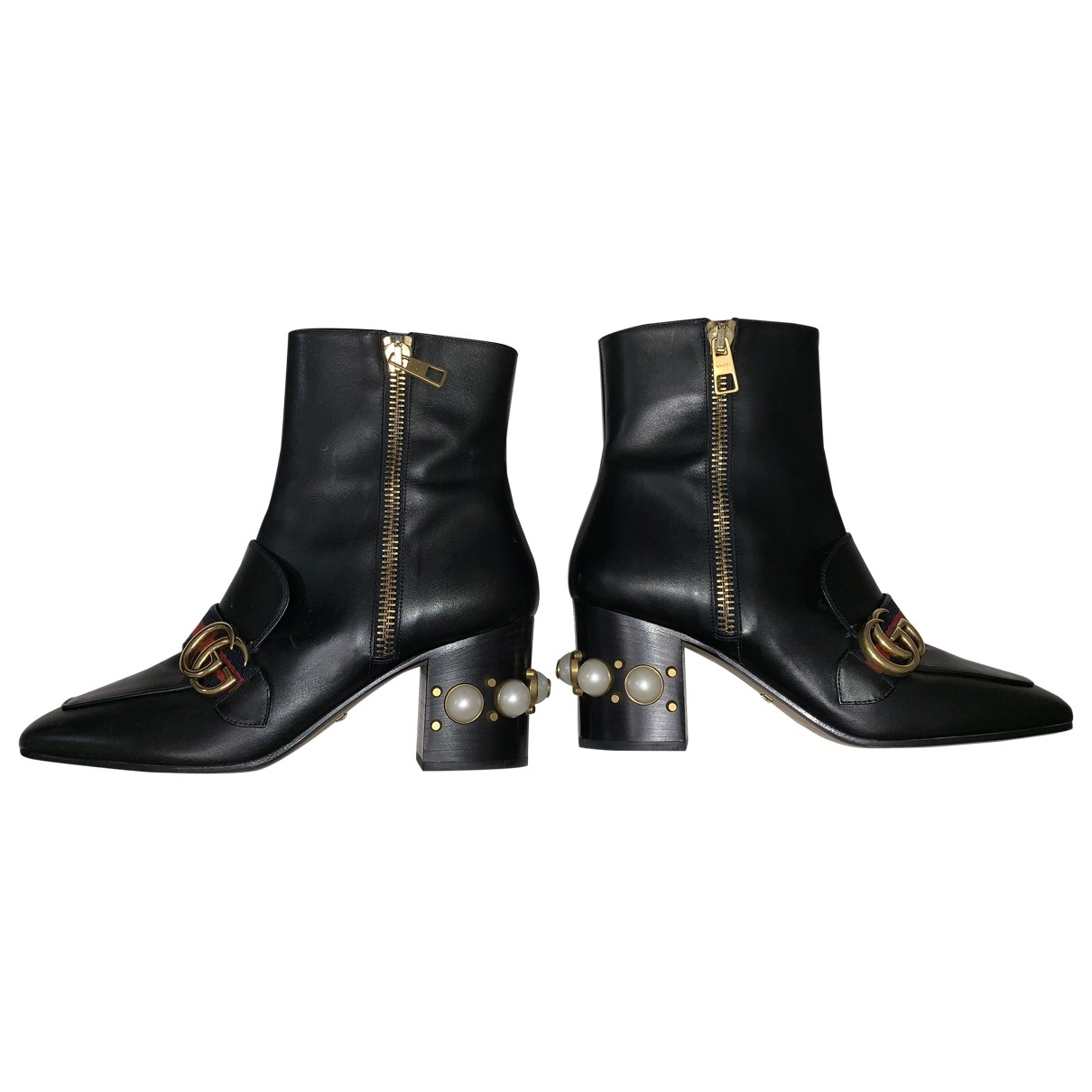 Gucci Marmont Black Leather Ankle boots for Women 39 EU