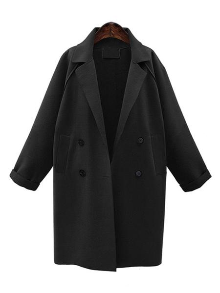 Milanoo Oversized Winter Coat Long Sleeve Button Turndown Collar Women Peacoat