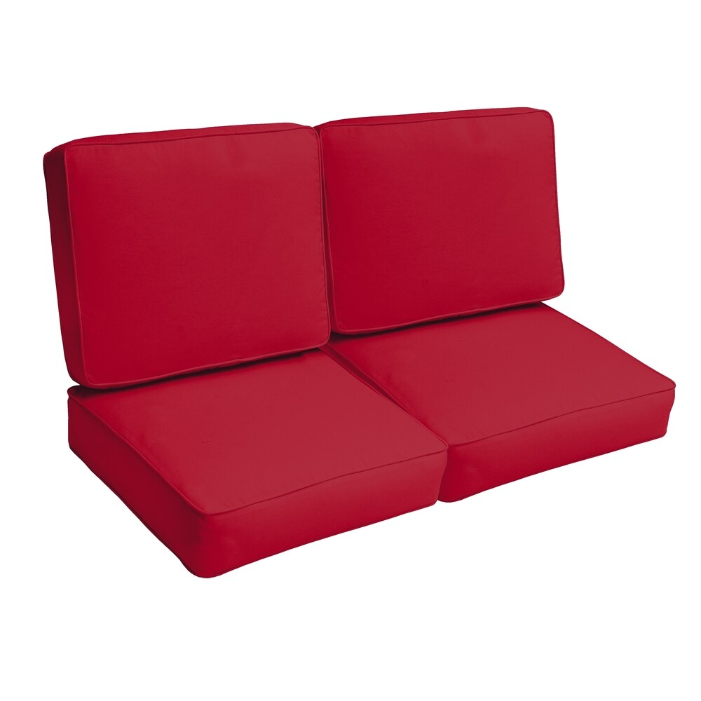 Westby Crimson Indoor/ Outdoor Corded Loveseat 4-pc Cushion Set (Red)