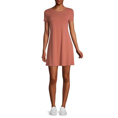Arizona-Juniors Short Sleeve Swing Dresses, X-small , Brown