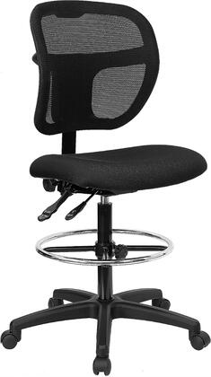 WL-A7671SYG-BK-D-GG Mid-Back Mesh Drafting Stool with Black Fabric