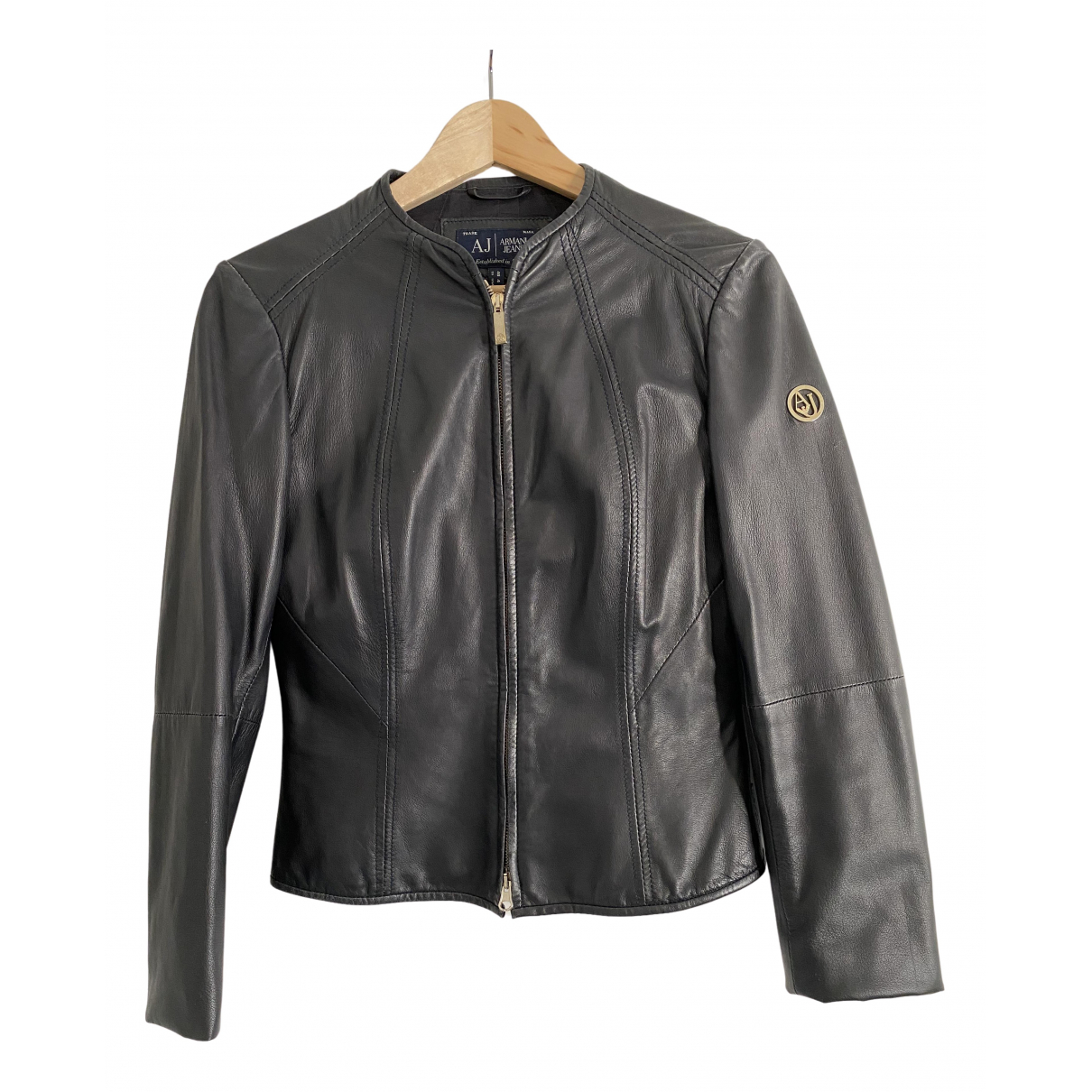 Armani Jeans N Blue Leather Leather jacket for Women 40 IT