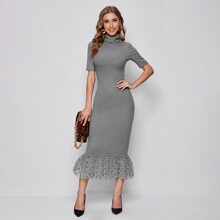 Form Fitting Dot Mesh Hem Dress
