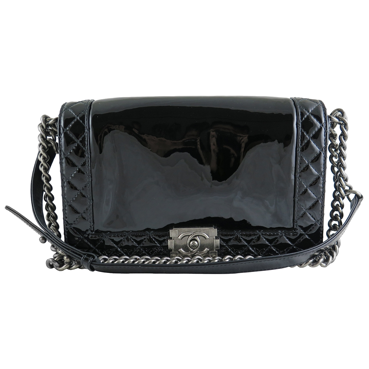 Chanel Timeless/Classique Handtasche in  Schwarz Lackleder