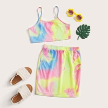 Girls Tie Dye Cami Top & Skirt Set