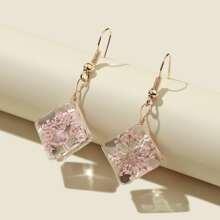 Flower Design Geometric Drop Earrings