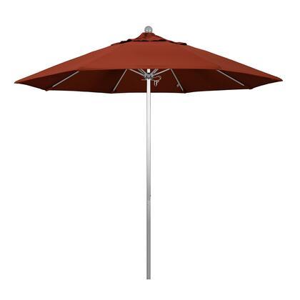 ALTO908002-5440 9' Venture Series Commercial Patio Umbrella With Silver Anodized Aluminum Pole Fiberglass Ribs Push Lift With Sunbrella 2A Terracotta