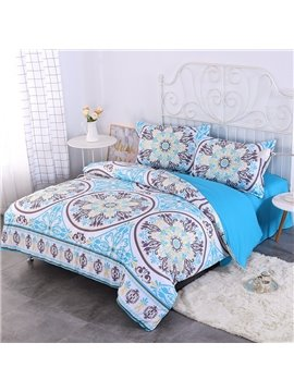 Fresh Paisley Blue Bohemian Style Pattern 4-Piece Bedding Sets/Duvet Cover