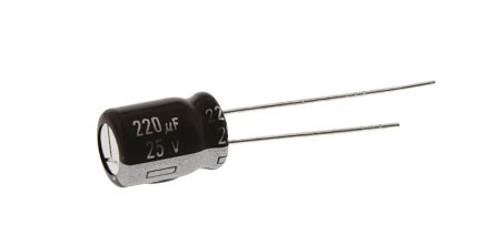 Panasonic 220μF Electrolytic Capacitor 25V dc, Through Hole - EEUEB1E221S (5)