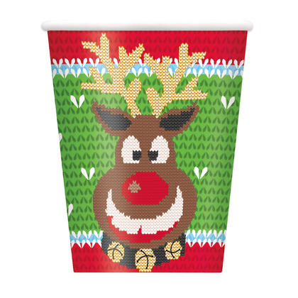 Ugly Sweater Christmas 9oz Paper Cups, 8ct