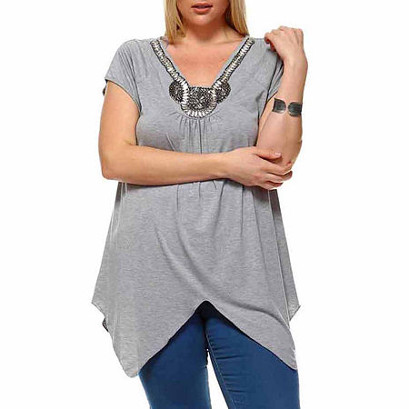 White Mark-Plus Grace Womens V Neck Short Sleeve Tunic Top, 3x , Gray