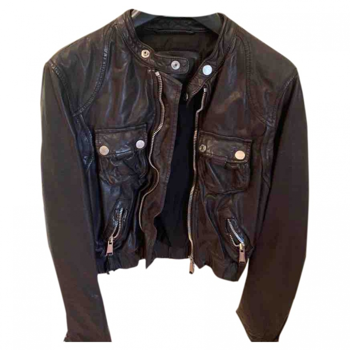 Dsquared2 \N Black Leather Leather jacket for Women 42 IT