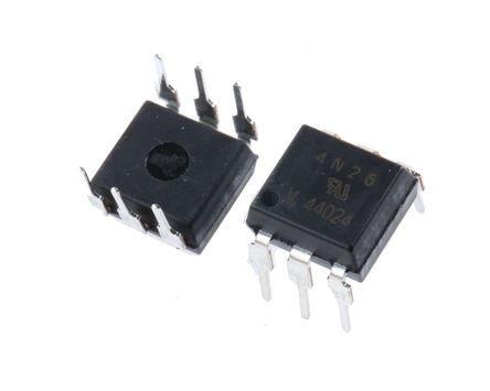 Vishay , 4N26 DC Input Transistor Output Optocoupler, Through Hole, 6-Pin PDIP (50)
