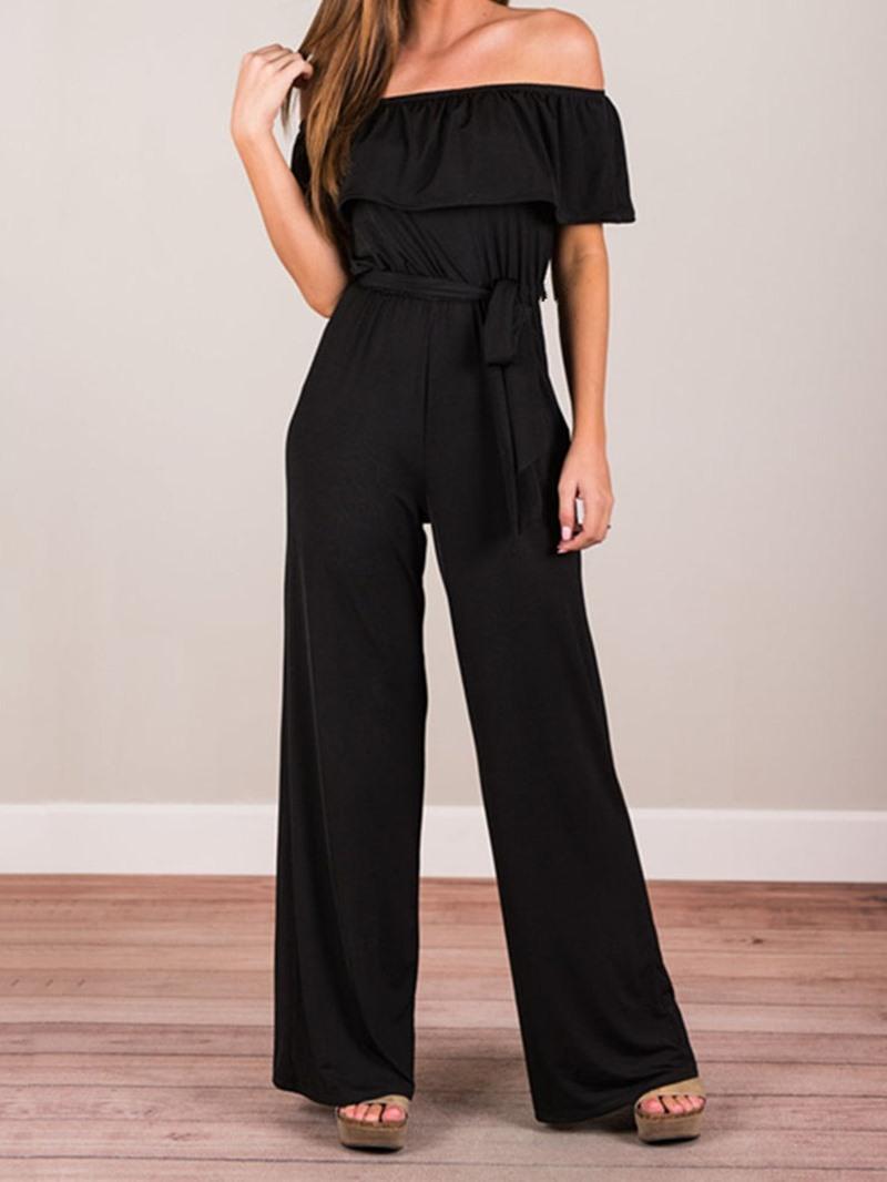 Ericdress Plain Off Shoulder Fashion Full Length Wide Legs Loose Jumpsuit