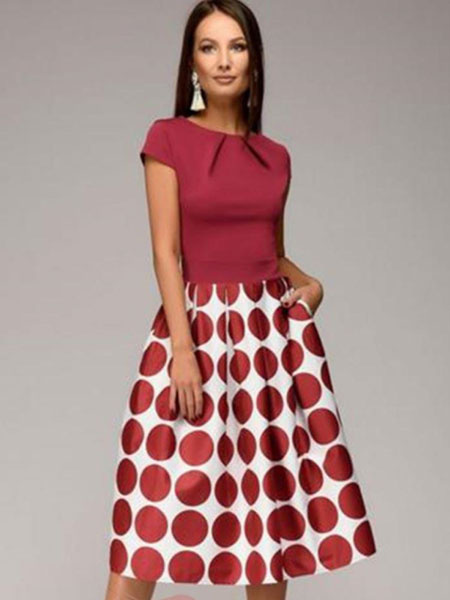 Milanoo Rojo Vintage Vestido con Lurares 2020 con Manga Corta Plisado Vestido a media pierna