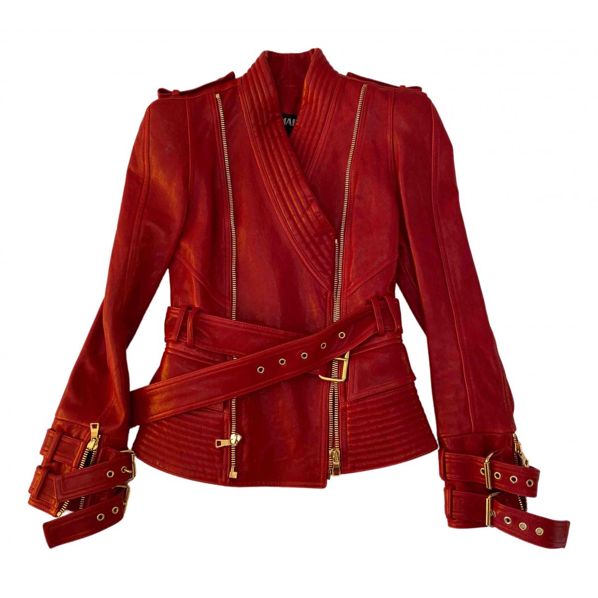 Balmain - Veste   pour femme en cuir - rouge