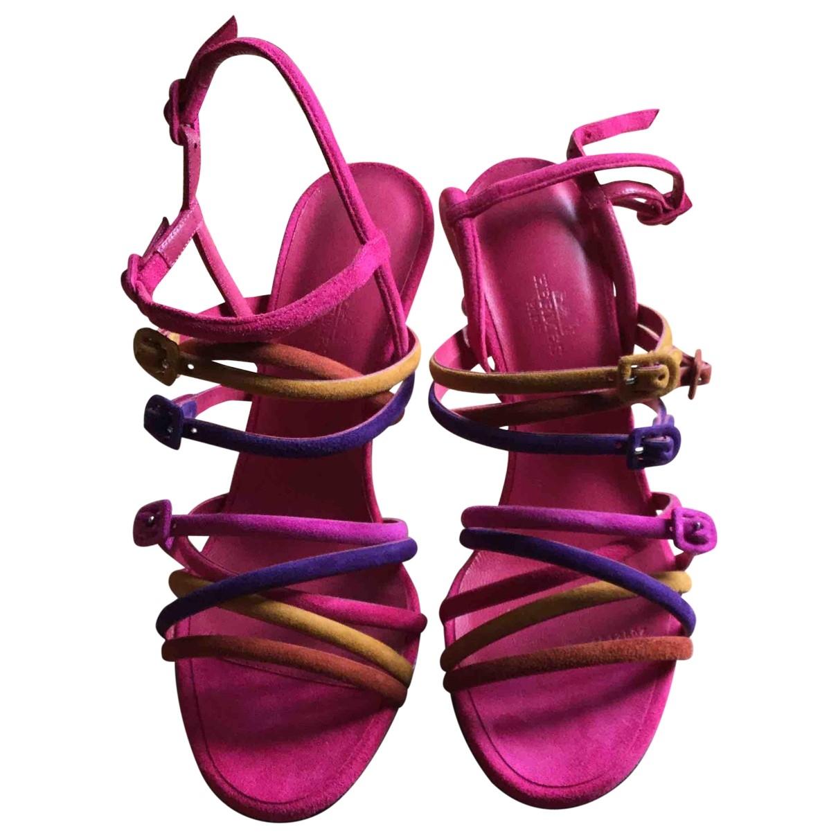 Hermes - Sandales   pour femme en suede - rose