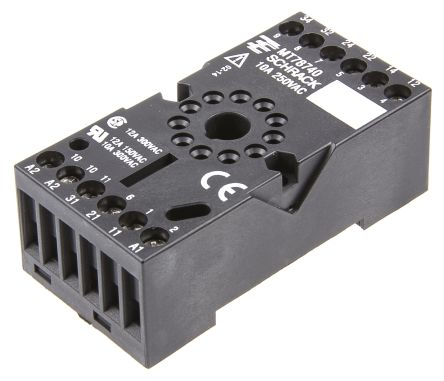 TE Connectivity 11 Pin Relay Socket, DIN Rail, 240V ac for use with MT Series