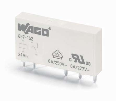 Wago , 24V dc Coil Non-Latching Relay, 6A Switching Current DIN Rail Single Pole