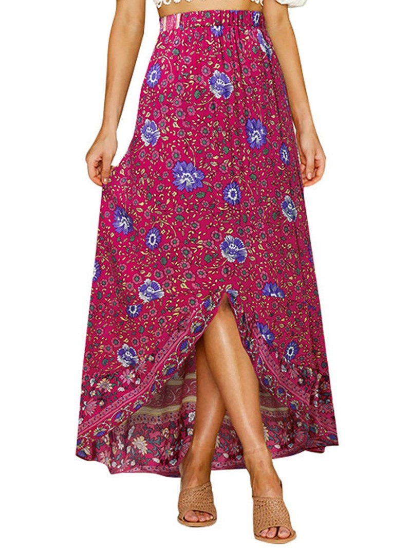 Ericdress Floral Print Asymmetrical Sweet Long Skirt