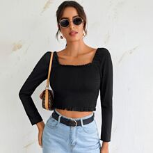 Solid Shirred Frill Trim Top