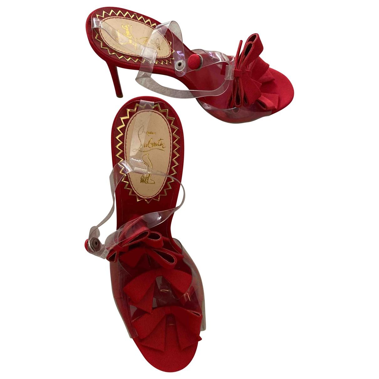 Christian Louboutin - Sandales   pour femme en toile - rouge